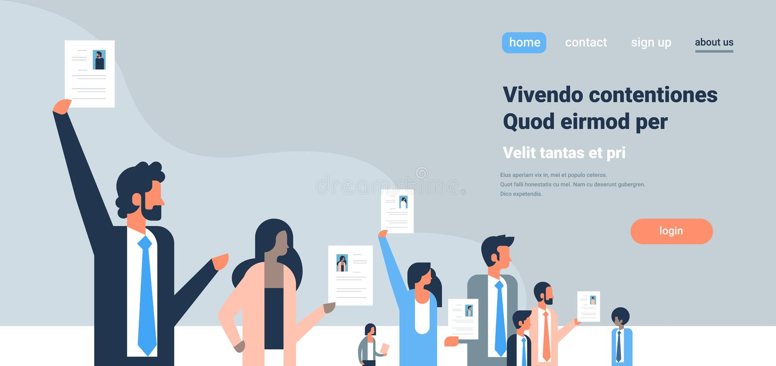 Business team hand hold cv resume businessman over group mix race people candidate for vacancy job position recruitment royalty free illustration