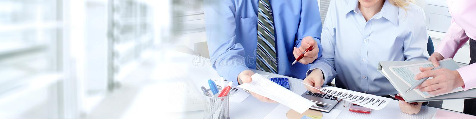 Business team. Hands of business people group working in office stock photo