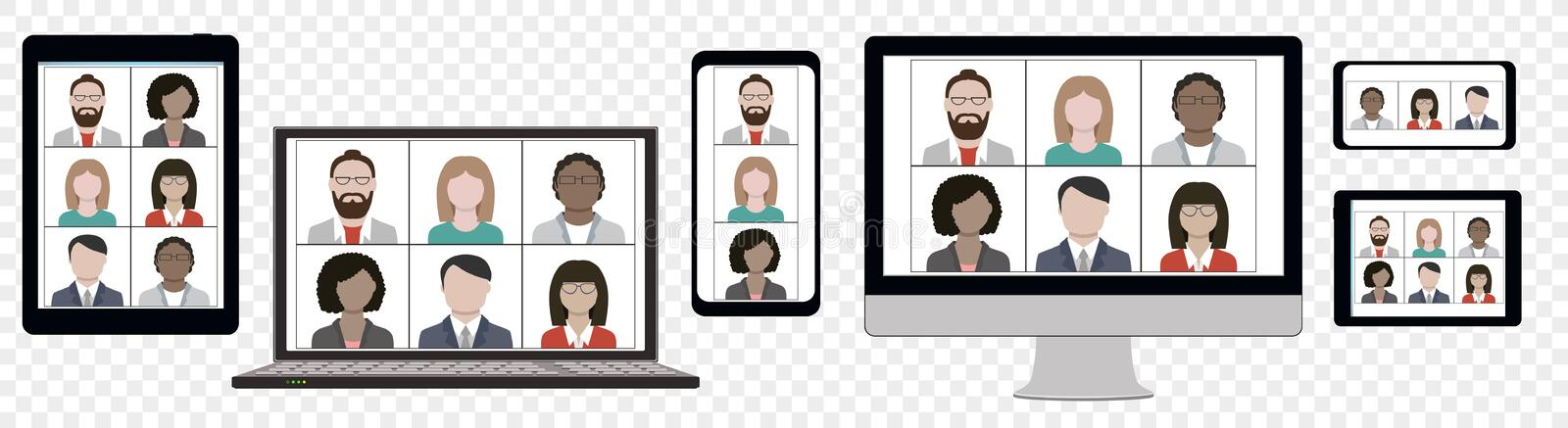 Business team hangout and have remote video meeting online on device screen. Multi Ethnic Business team hangout and have remote video meeting online on computer vector illustration