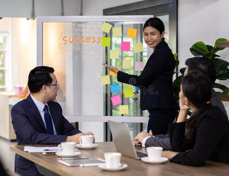 Business team meeting. Business team have a meeting in a cafe royalty free stock images