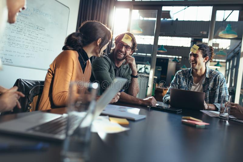Business team having a brainstorming session in office stock images