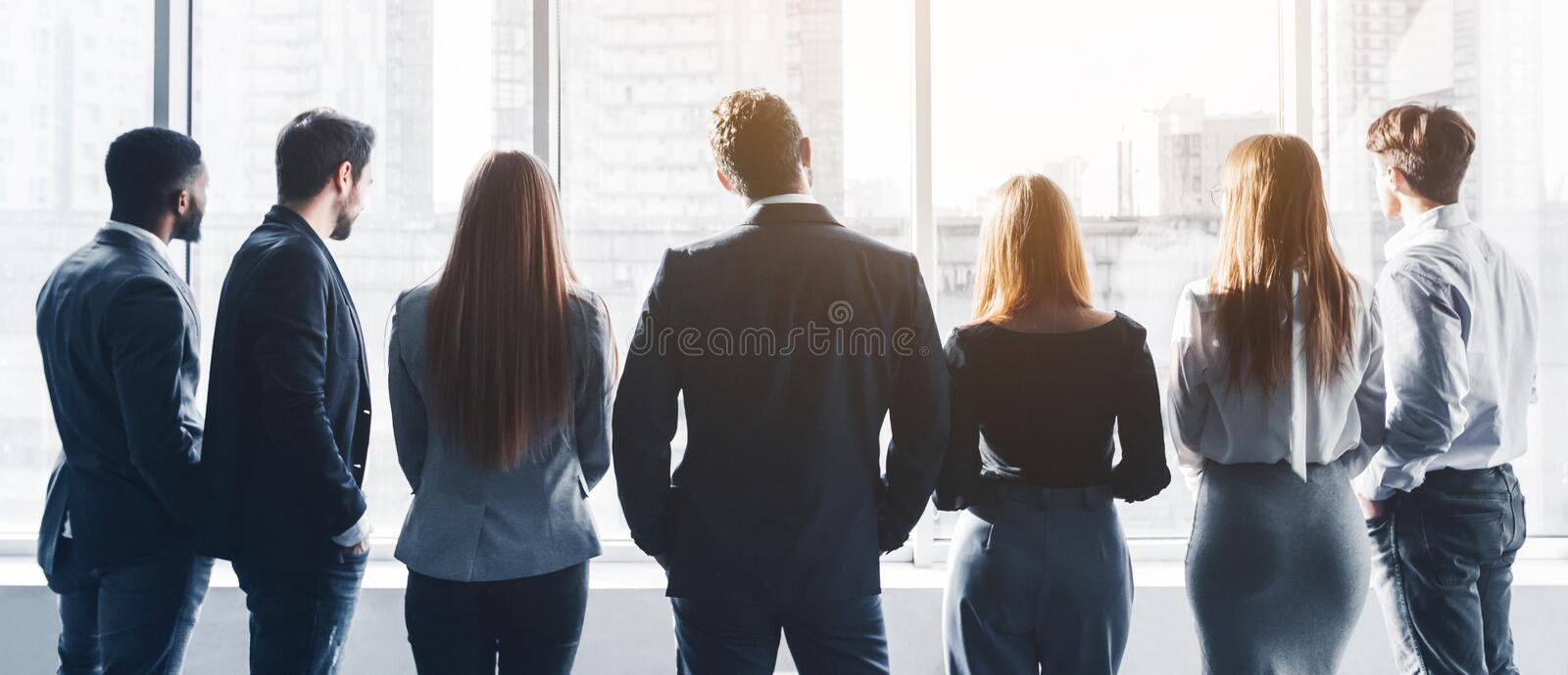 Business team having break at meeting, back view stock photos