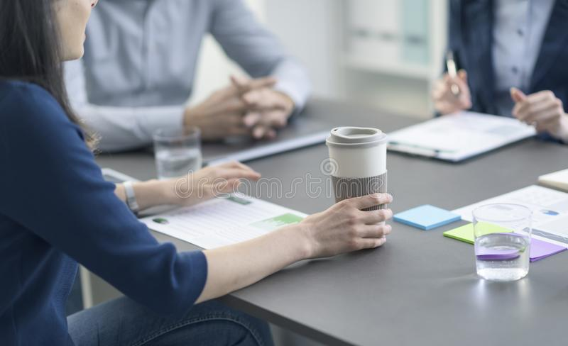 Business team having a meeting in the office stock photography