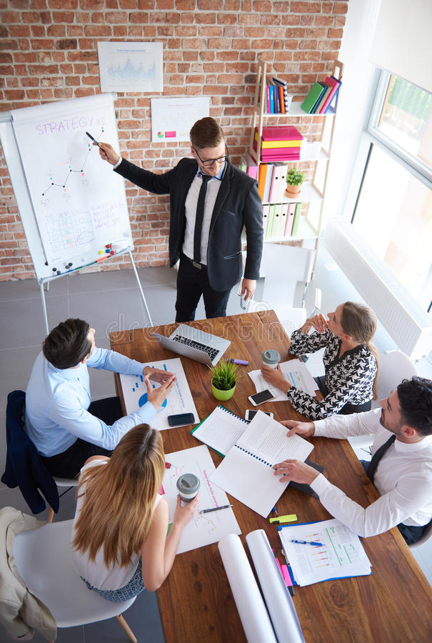 Business team. High angle view on business meeting royalty free stock photo