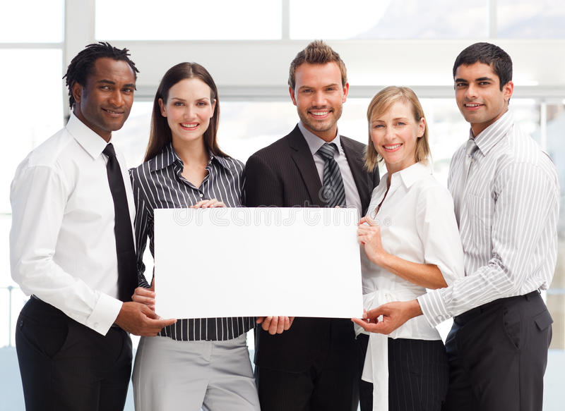 Download Business Team Holding A Blank Card Stock Photo - Image of financial, confident: 9456440