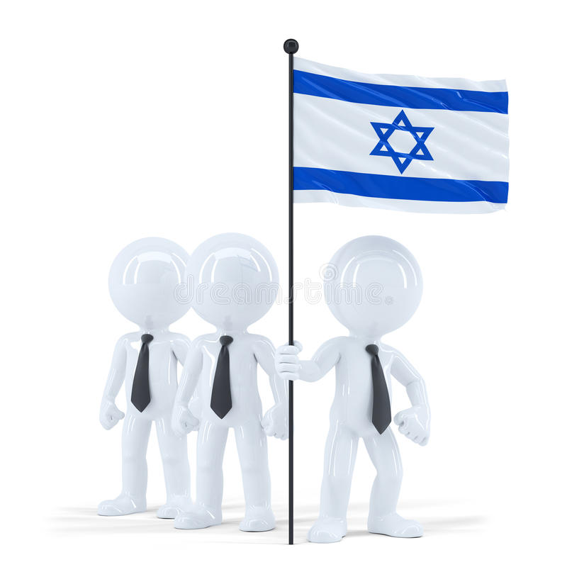 Business team holding flag of Israel. Isolated. Contains clipping path. Business team holding flag of Israel. Isolated on white. Contains clipping path royalty free illustration