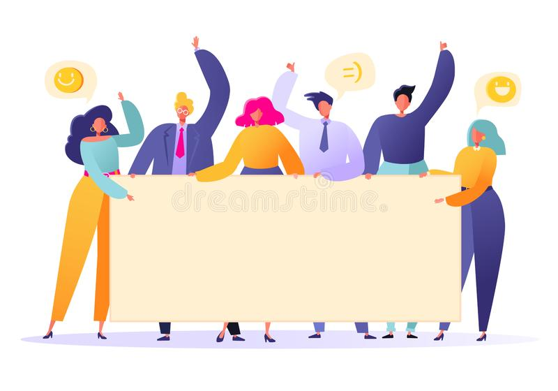 Business team holding in hands empty banners. Happy flat people characters with advertising, blank, billboards, presentation, anno. Uncement. Flat, cartoon royalty free illustration