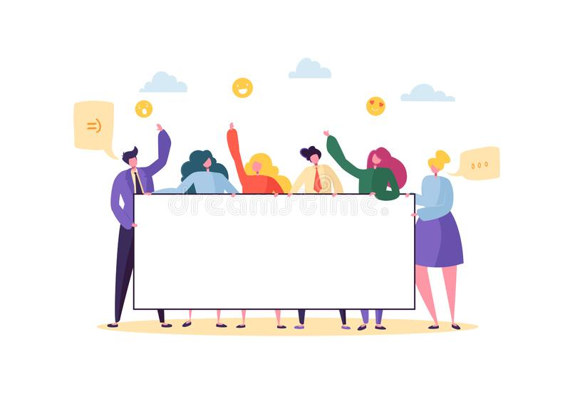 Business Team Holding Horizontal Empty Banner. Happy People with Blank Billboard. Teamwork Advertising Concept vector illustration
