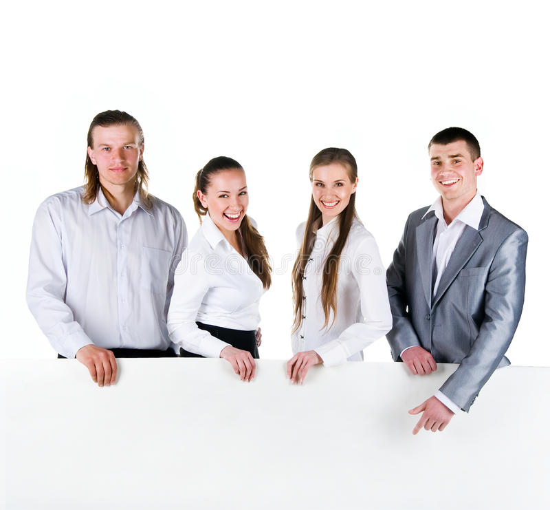 Business Team Holding A Large Blank Stock Photography