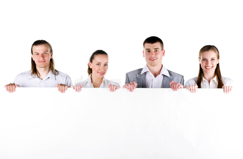 Download Business Team Holding A Large Blank Royalty Free Stock Image - Image: 14008586