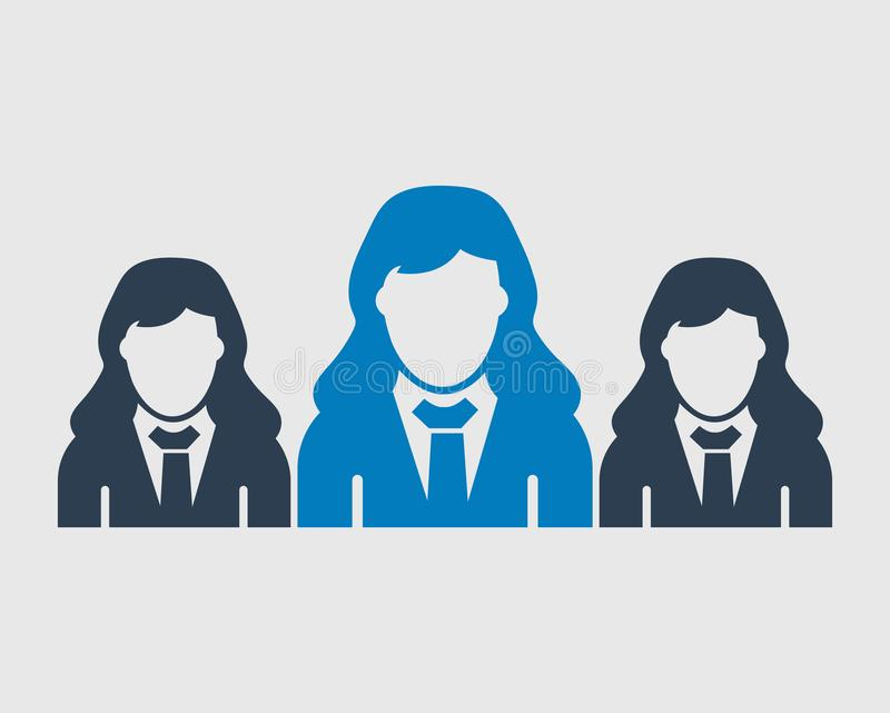 Business Team Icon. Employees behind the leader. Flat style vector EPS vector illustration