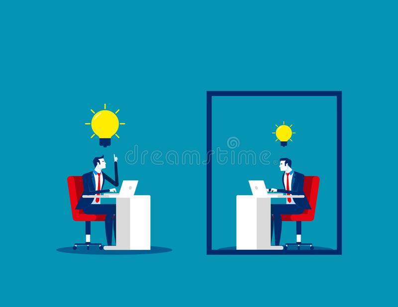 Business team and ideas thinking. Concept business vector, Outside, Frame, Freedom stock photo