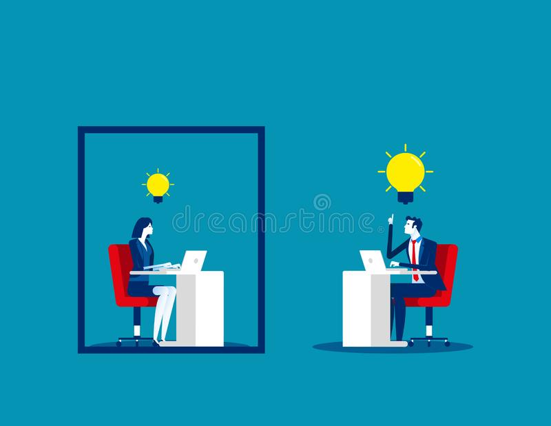 Business team and ideas thinking. Concept business vector, Outside, Frame, Freedom royalty free stock image