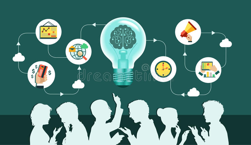 Business team. Infographic background. Vector. Business people group over conceptual. Silhouettes of people on a background of business icons. Office workers and royalty free illustration