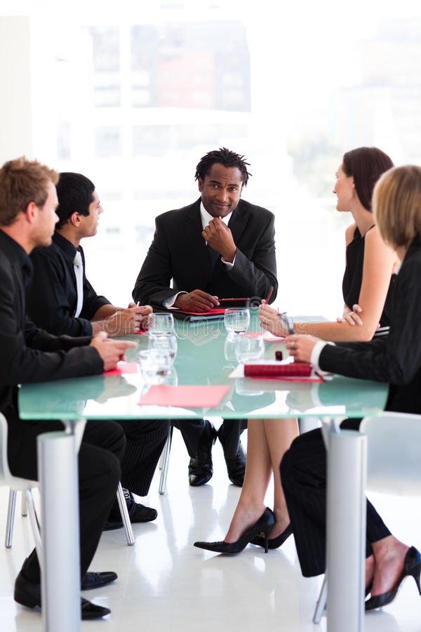 Business Team Interacting In A Meeting Stock Photo