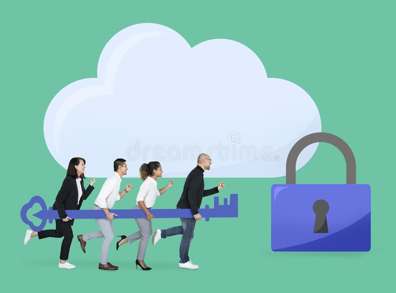 Business team with internet security stock photography