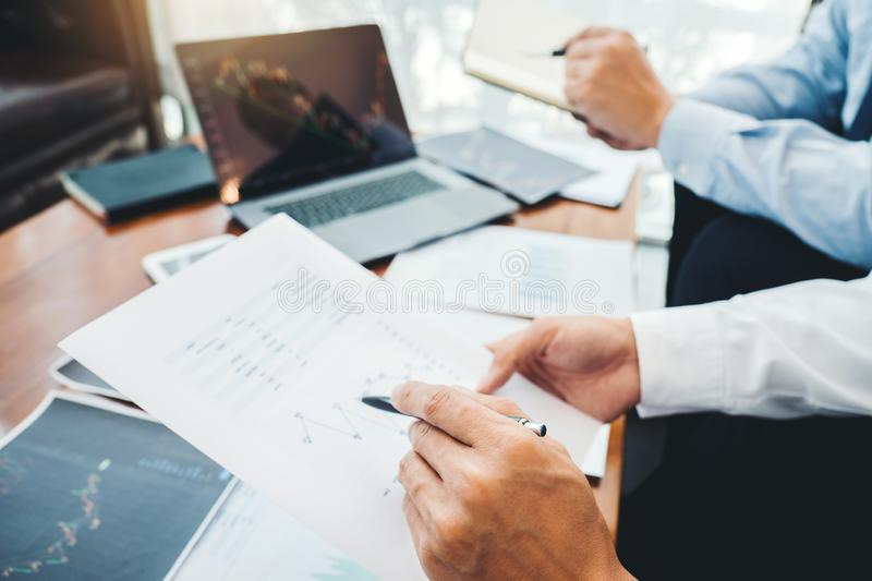 Business Team Investment Entrepreneur Trading discussing and analysis graph stock market trading,stock chart concept stock photography