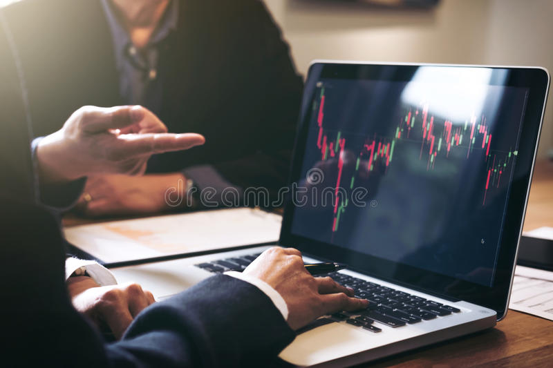Business team investment working with computer and analysis graph stock market trading with stock chart data, business and techno. Logy concept royalty free stock photos