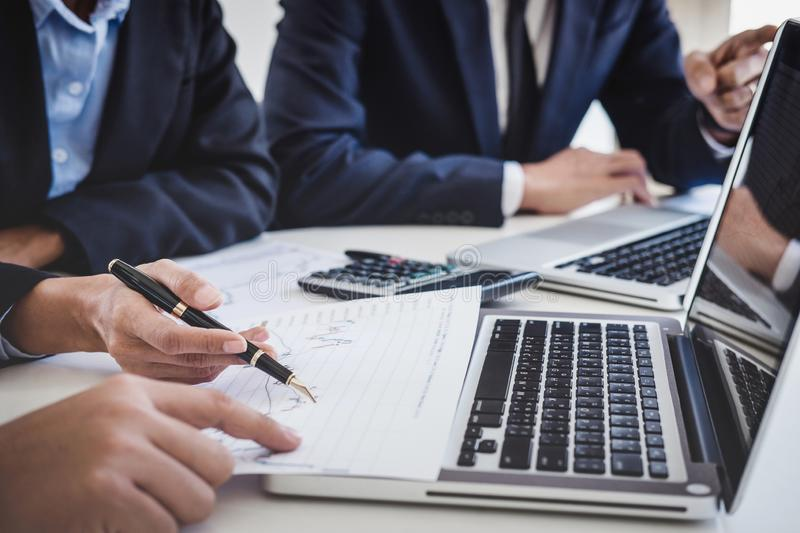 Business team investment working with computer and analysis graph stock market trading with stock chart data, business and royalty free stock photos