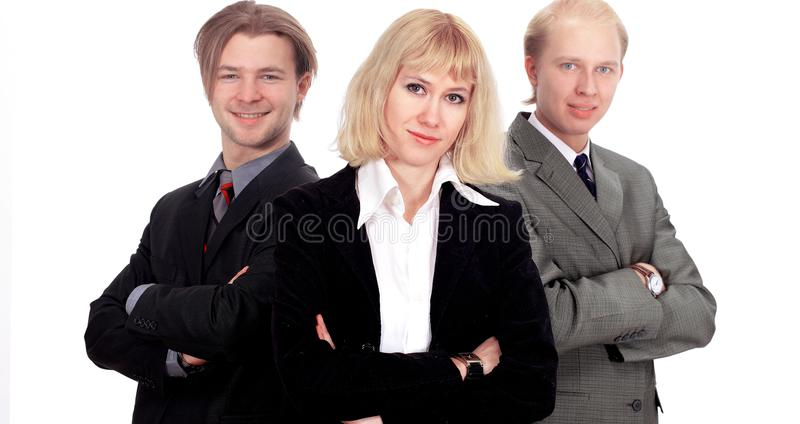 Business team isolated in the white background royalty free stock photos