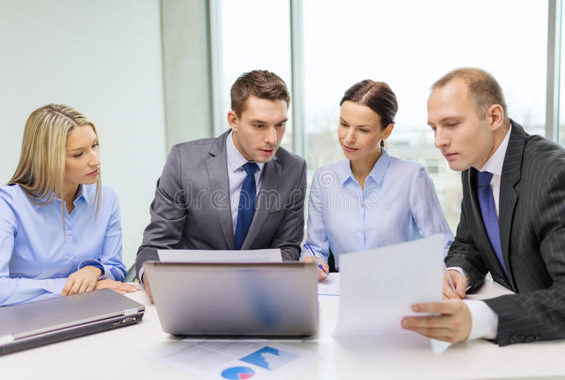 Download Business Team With Laptop Having Discussion Stock Photo - Image: 35781876
