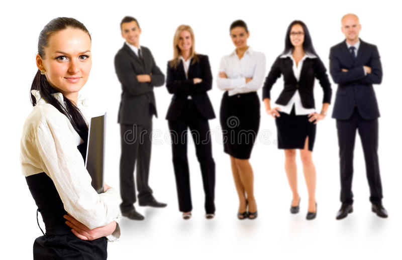 Business team with a leader. Business team with a businesswoman leader holding a folder stock photography