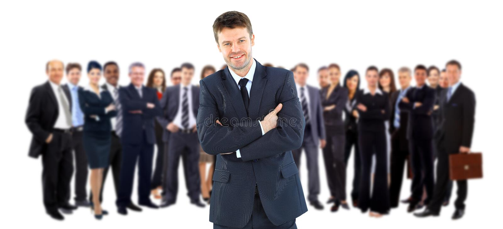 Business team and leader. Business team and their leader royalty free stock photography
