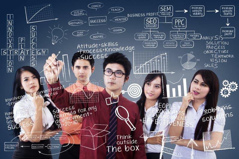 Download Business Team Leader Explains Plan On Blue Stock Illustration - Image: 32447134