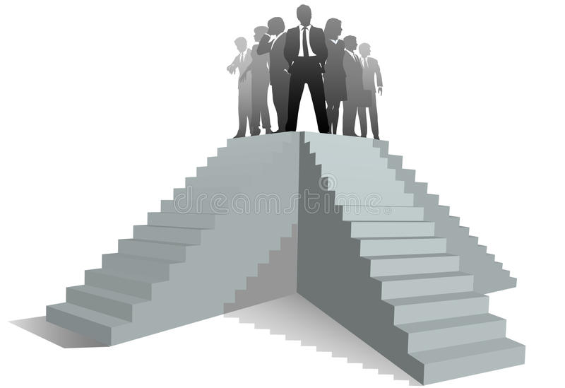 Business team leader people stairs up to success vector illustration