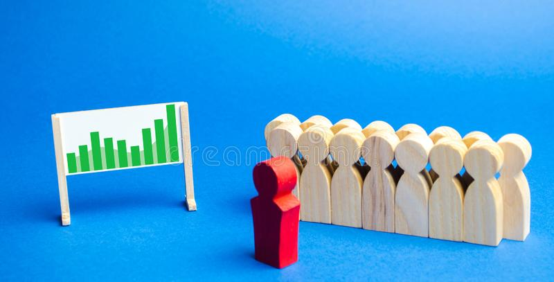 Business team with leader stand with schedule. Profit and finance concept. Business planning and strategy. Financial performance. And company budget. Analysis stock photos