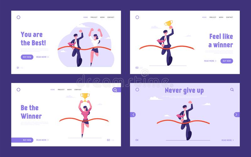Business Team Leaders Competition Website Landing Page Set. Man and Woman Holding Golden Cup Take Part in Race Run. Crossing Finish Line with Ribbon Web Page royalty free illustration