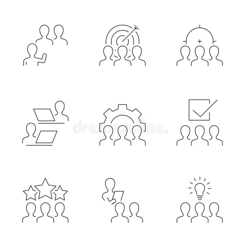 Business team line icons on white background. Teamwork and business group vector illustration. Editable stroke stock illustration