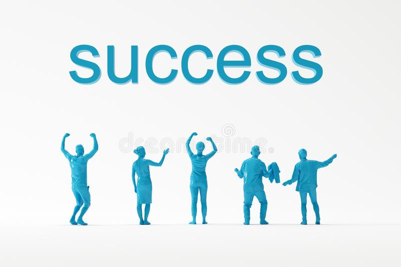 Business team looking happily at SUCCESS text on white background for copy space. Minimal business idea concept stock illustration