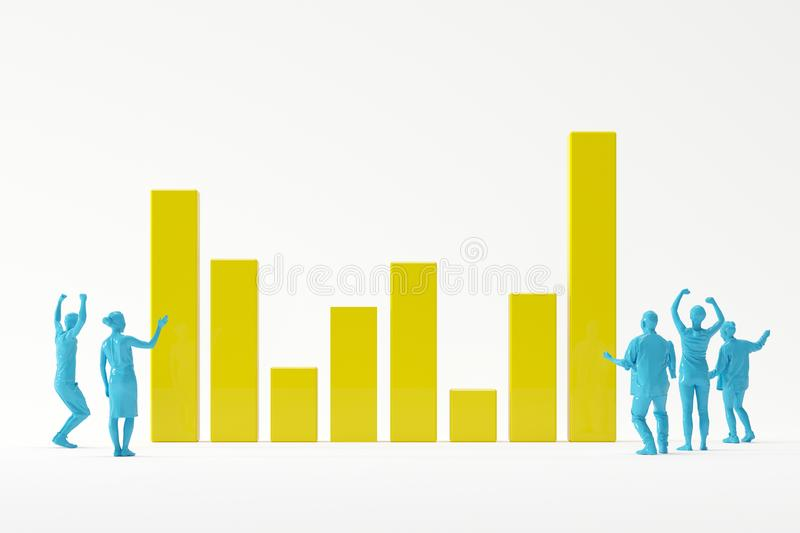 Business team looking happily at successful bar graph on white background for copy space. Minimal idea concept stock illustration