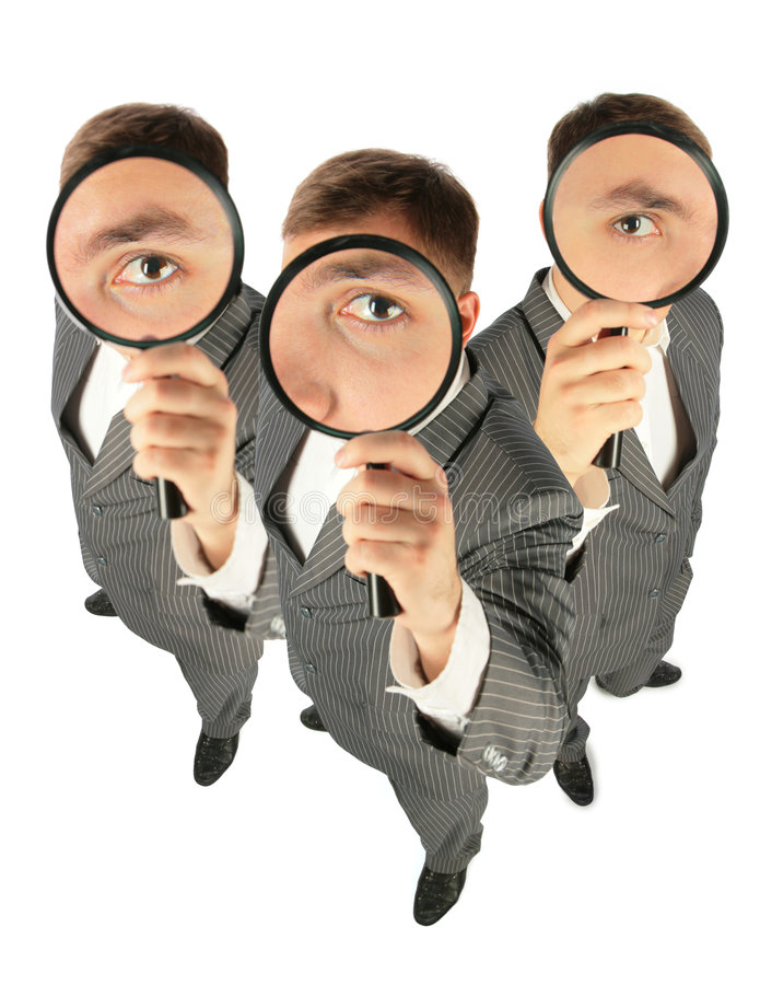 Business team with magnifiers collage. Business team with magnifiers on white, collage royalty free stock images