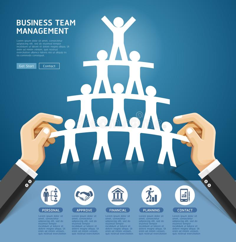 Business team management conceptual design. Hand holding a paper stock illustration