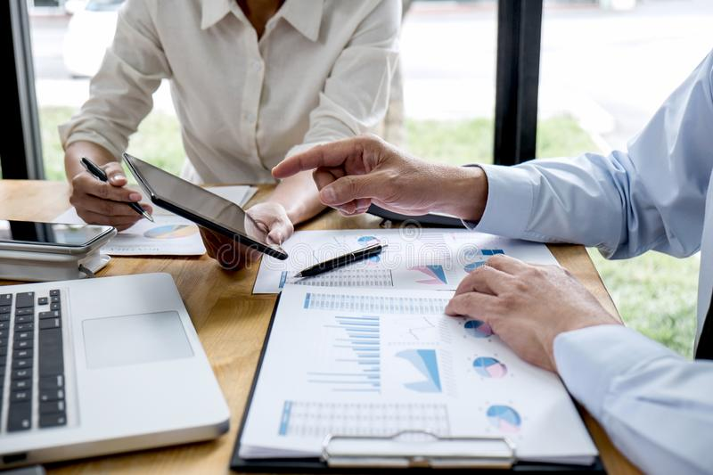 Business team manager meeting discussing company project success financial statistics, Professional investor working start up stock photography