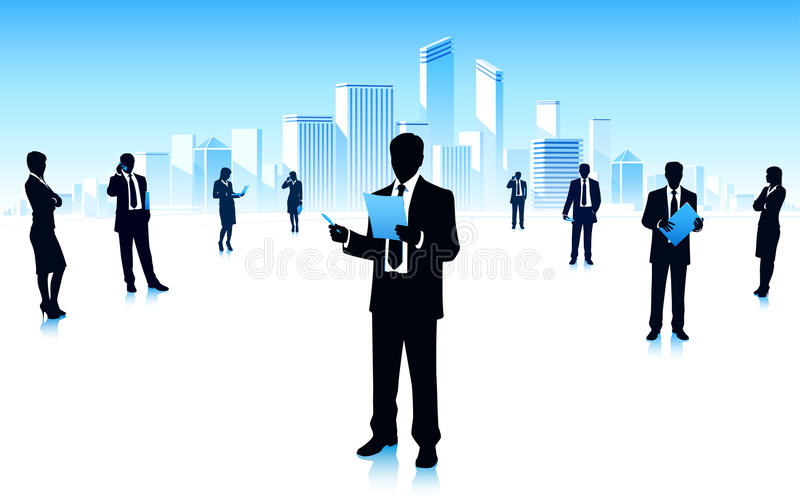 Business team meeting in city stock image