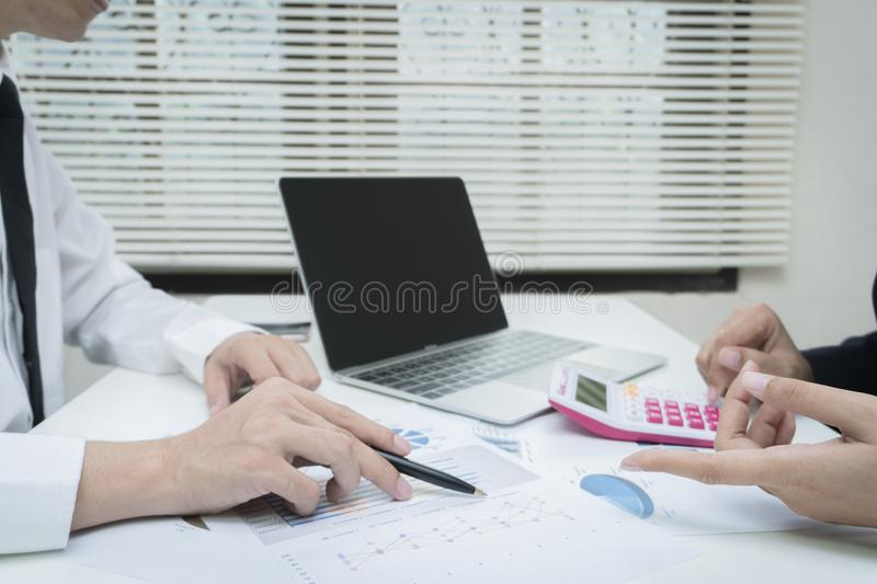 Business team meeting consulting project and financial cost. Professional investor working the project. Concept business and finance stock photos