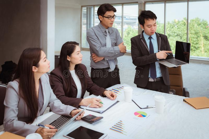 Business team meeting and discussing about new project, Business stock image
