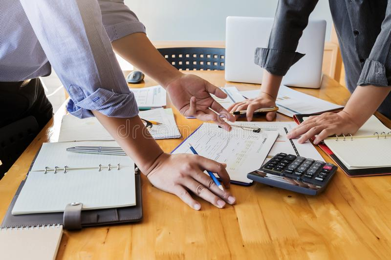 Business team meeting and discussing project plan. stock image