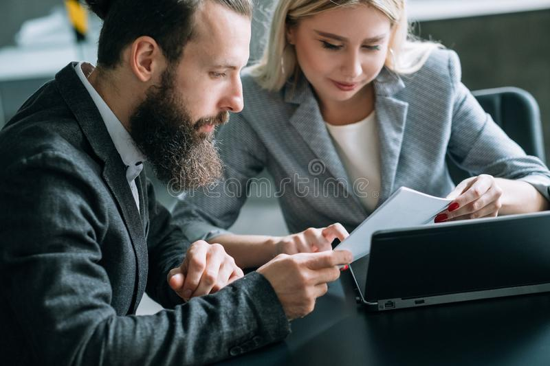 Business team meeting document analysis office stock image