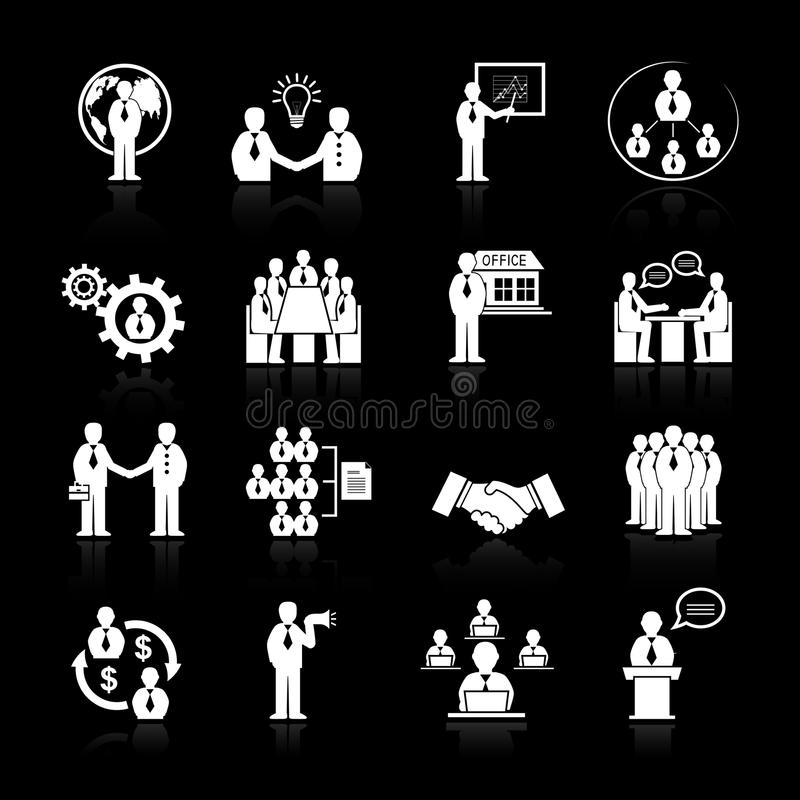 Business team meeting icons set. Business team meeting at office conference presentation icons set isolated vector illustration vector illustration