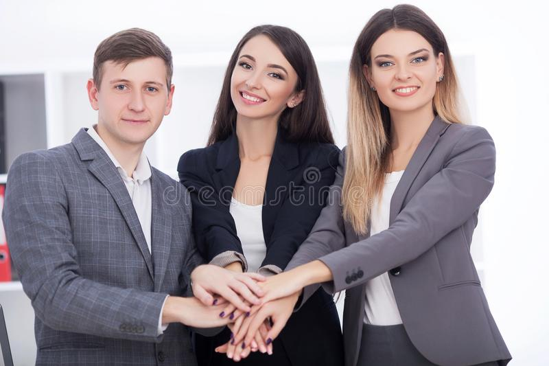 Business Team Meeting. Man Making Presentation In Office And Training Colleagues. Business People Sitting At Conference. Table, Working On Project And stock image