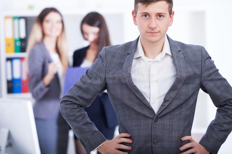 Business Team Meeting. Man Making Presentation In Office And Training Colleagues. Business People Sitting At Conference. Table, Working On Project And stock images