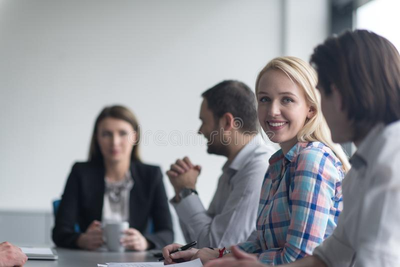 Group of young people meeting in startup office royalty free stock photo