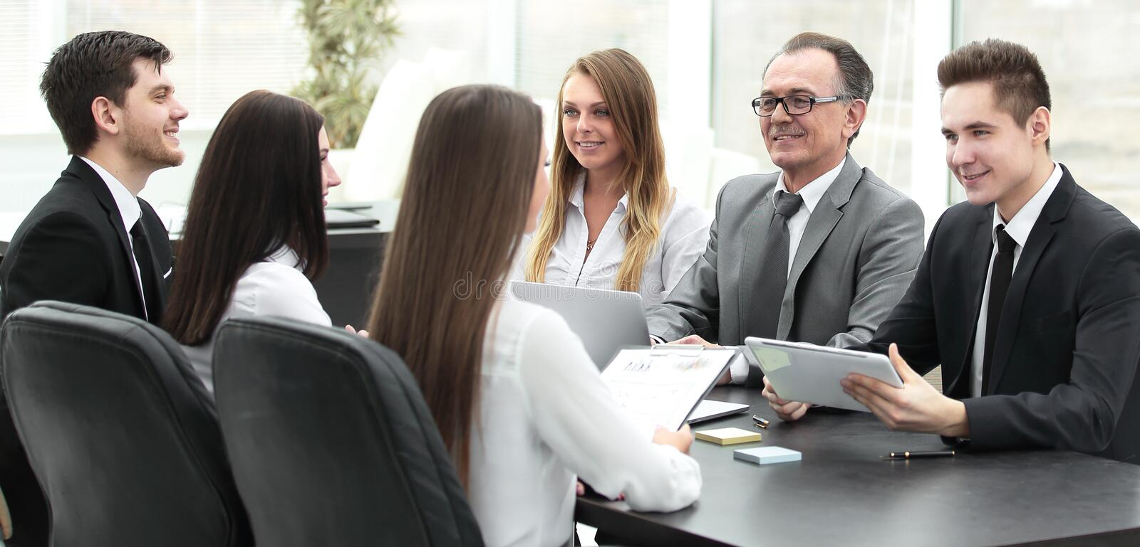 Business team at a meeting in the office. royalty free stock photo