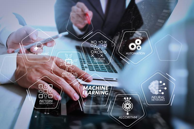Business team meeting present. Photo professional investor working with new startup project. Finance managers meeting.Digital tab. Machine learning technology stock images