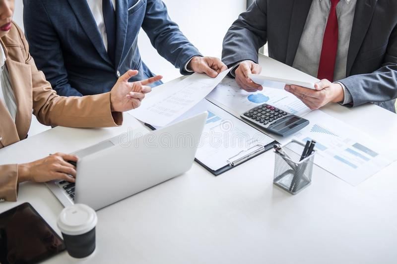 Business team meeting present, Secretary presentation new idea and making report to professional investor with new finance project royalty free stock photos