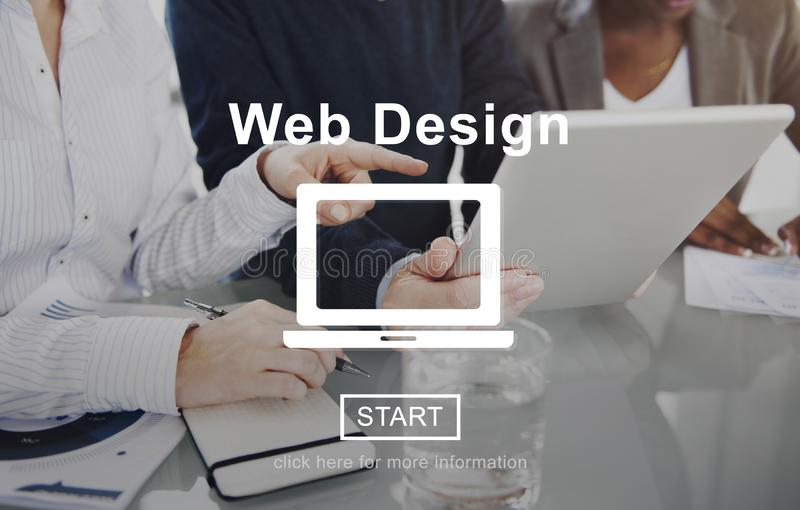 Business team meeting for sharing ideas. Web Design Homepage Internet layout Software Concept stock photo
